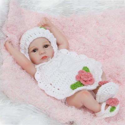 US 26cm Cute Handmade Lifelike Newborn Girl Doll Silicone Vinyl Reborn Baby Doll