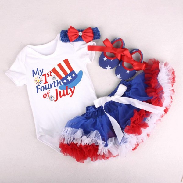 4-Piece Us Independence Day Bodysuit And Tutu Dress Set For 19 - 22 inches Reborn Baby Girls