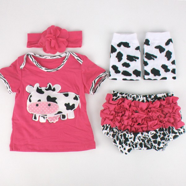 4-Piece Little Cow Short Sleeve Top And Skort Set For 19 - 22 inches Reborn Girls