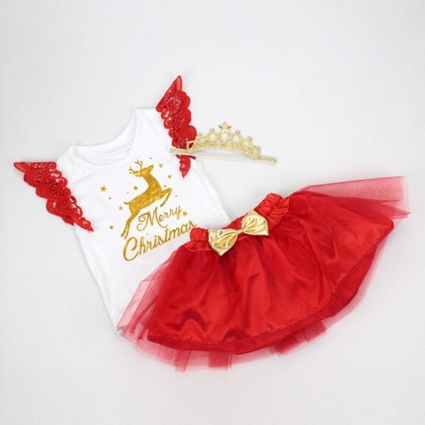 3-Piece Merry Christmas Sleeveless Bodysuit And Tutu Dress Set For 19 - 22 inches Reborn Girls