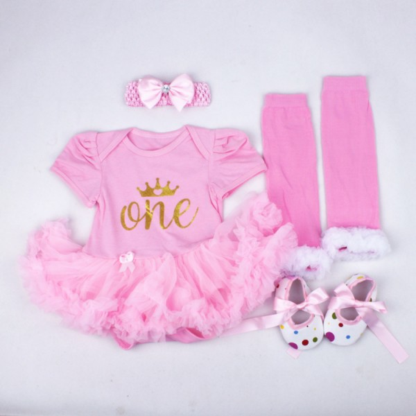 4-Piece Birthday Bodysuit And Tutu Pant Set For 19 - 22 inches Reborn Girls