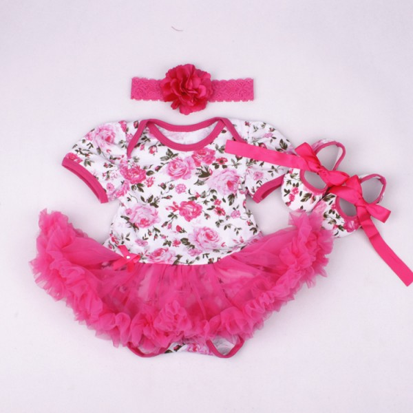 3-Piece Flowers Bodysuit And Tutu Dress Set For 19 - 22 inches Reborn Girls