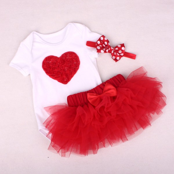 3-Piece Cute Bodysuit And Tutu Dress Set For 19 - 22 inches Reborn Girls