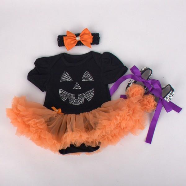 3-Piece Halloween Bodysuit And Tutu Dress Set For 19 - 22 inches Reborn Girls