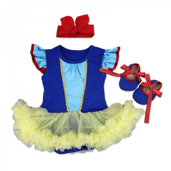 3-Piece Snow White Bodysuit And Tutu Dress Set For 19 - 22 inches Reborn Girls