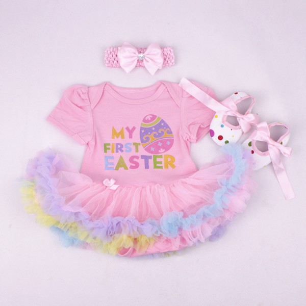 3-Piece Easter Bodysuit And Tutu Dress Set For 19 - 22 inches Reborn Girls