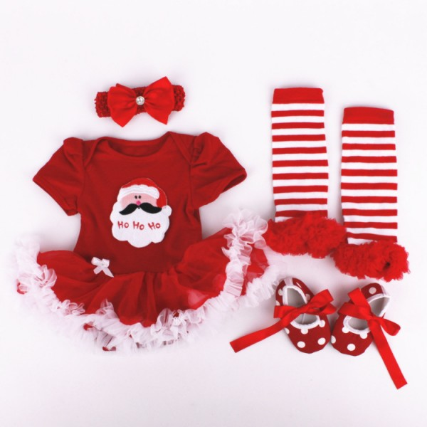 4-Piece Xmas Bodysuit And Tutu Dress Set For 19 - 22 inches Reborn Girls