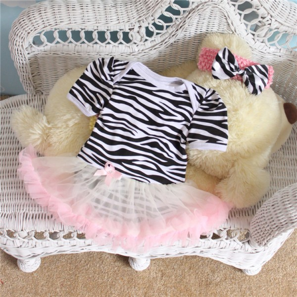 2-Piece Cut Bodysuit And Tutu Dress Set For 19 - 22 inches Reborn Girls