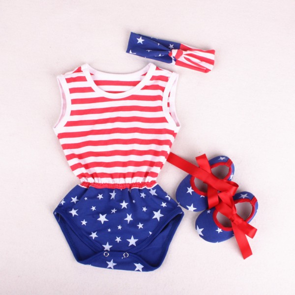 3-Piece American Flag Bodysuit And Headband Set For 19 - 22 inches Reborn Babies