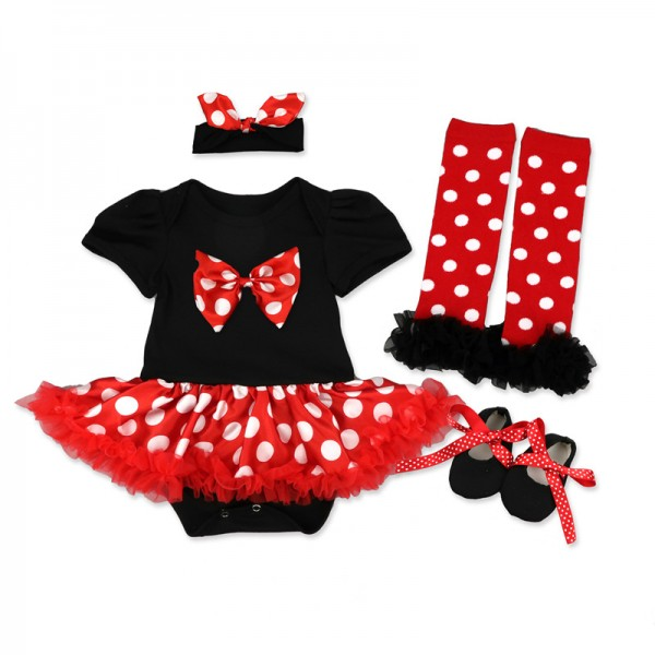4-Piece Minnie Mouse Bodysuit And Tutu Dress Set For 19 - 22 inches Reborn Girls