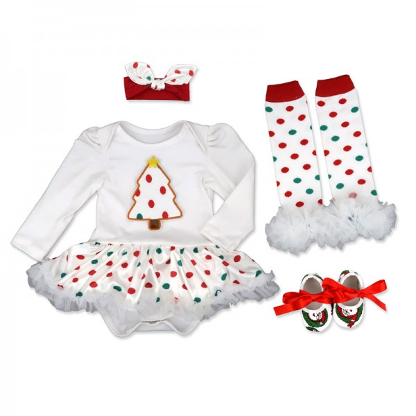 4-Piece Christmas Bodysuit And Tutu Dress Set For 19 - 22 inches Reborn Girls