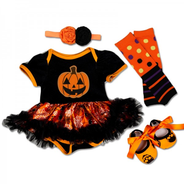 4-Piece Halloween Pumpkin Bodysuit And Tutu Dress Set For 19 - 22 inches Reborn Girls