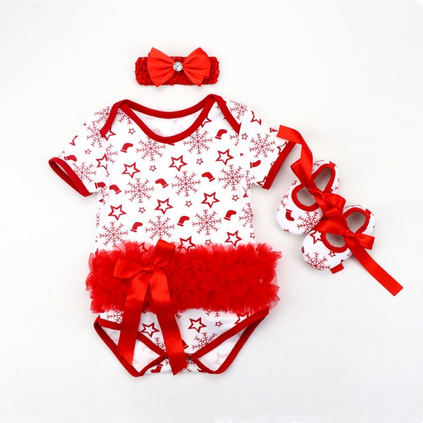 3-Piece Snowflake Bodysuit And Headband Set For 19 - 22 inches Reborn Girls