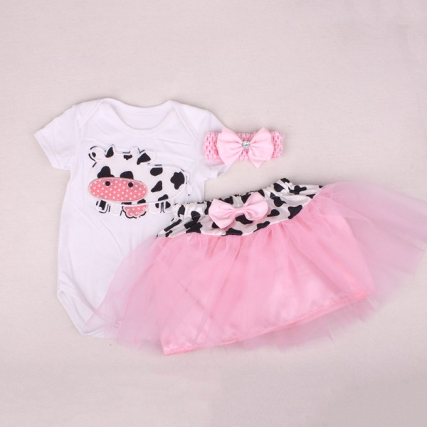 3-Piece Cut Bodysuit And Bow Tutu Dress Set For 19 - 22 inches Reborn Girls