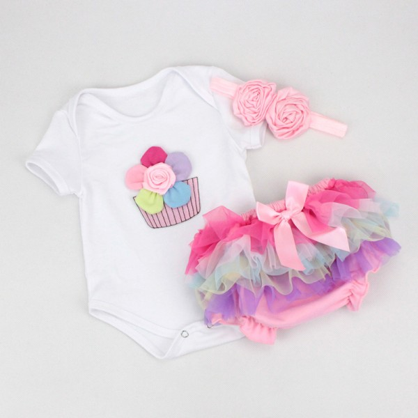 Cute Rainbow Flowers Bodysuit And Tutu Dress For 19 - 22 inches Reborn Girls