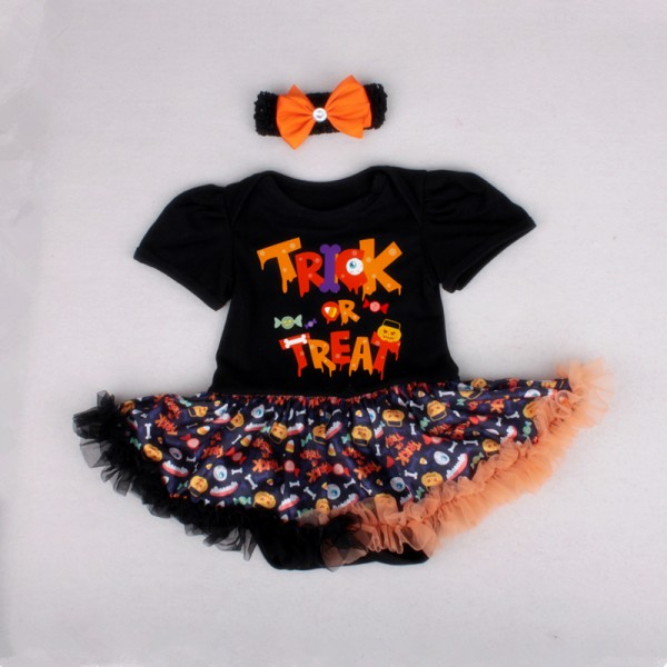 2-Piece Halloween Bodysuit And Tutu Dress Set For 19 - 22 inches Reborn Girls