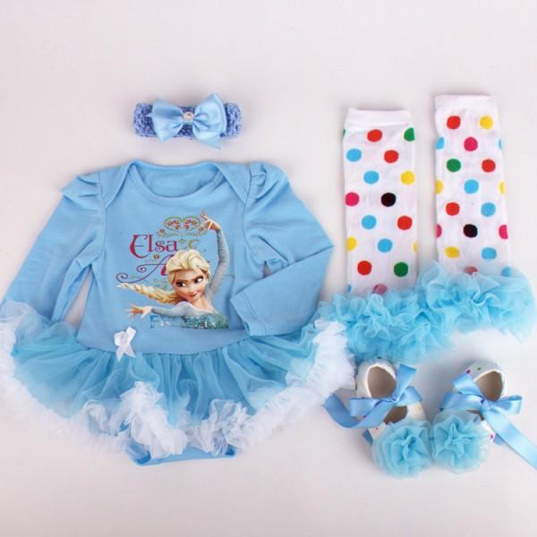 4-Piece Frozen Bodysuit And Tutu Dress Set For 19 - 22 inches Reborn Girls