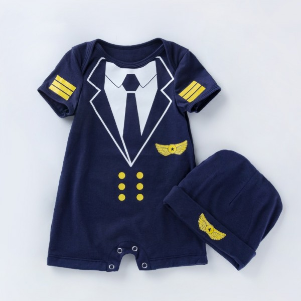 2-Piece Captain Bodysuit And Hat Set For 19 - 22 inches Reborn Boys