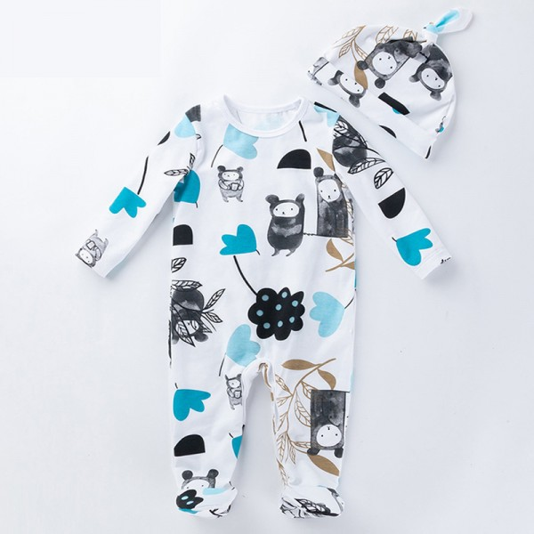 2-Piece Bears Bodysuit And Hat Set For 19 - 22 inches Reborn Boys