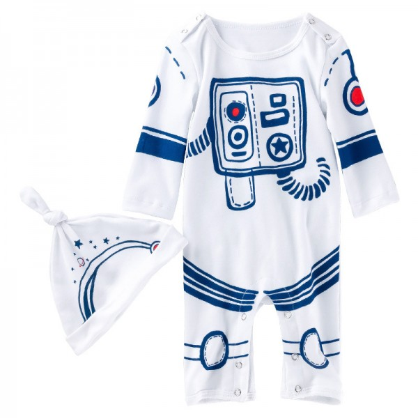 2-Piece Astronaut Bodysuit And Hat Set For 19 - 22 inches Reborn Boys