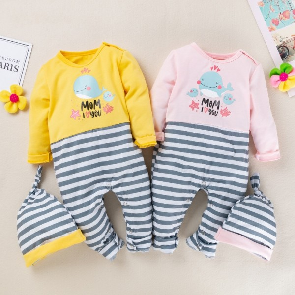 4-Piece Cute Jammies And Hat Set For 19 - 22 inches Reborn Twins