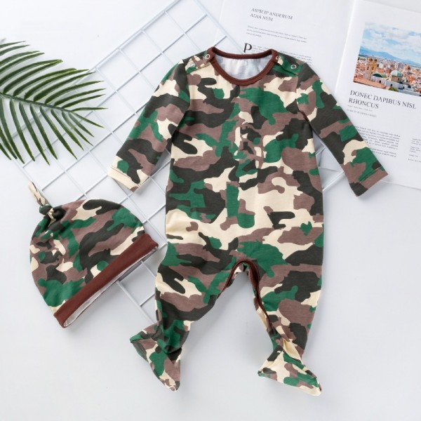 2-Piece Camouflage Jammies And Hat Set For 19 - 22 inches Reborn Boys