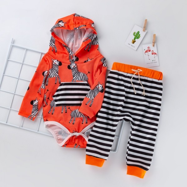 2-Piece Hooded Bodysuit And Trousers Set For 19 - 22 inches Reborn Babies