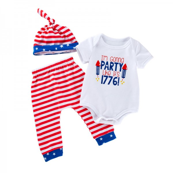 3-Piece Independence Day Bodysuit And Trousers Set For 19 - 22 inches Reborn Babies