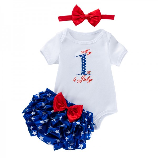3-Piece Independence Day Bodysuit And Tutu Set For 19 - 22 inches Reborn Girls