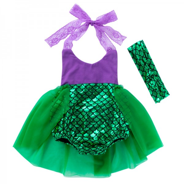 2-Piece Mermaid Dress And Headband Set For 19 - 22 inches Reborn Girls
