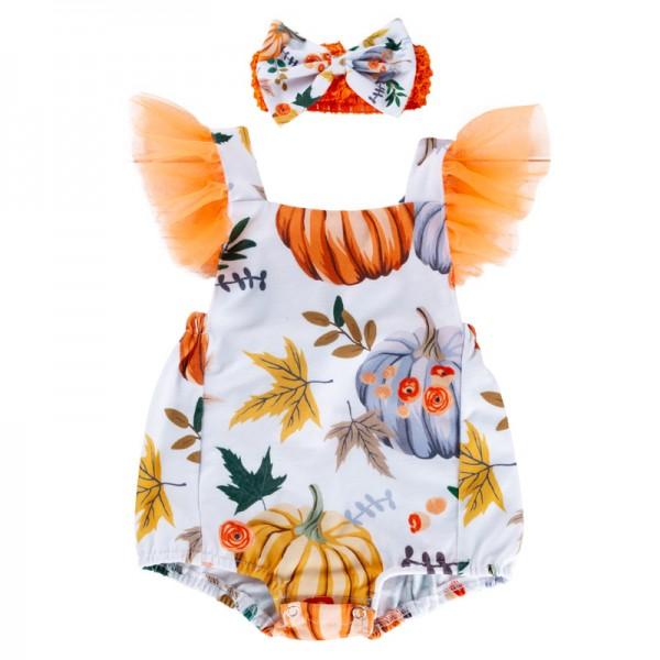 2-Piece Pumpkin Suspenders Bodysuit And Headband Set For 19 - 22 inches Reborn Girls