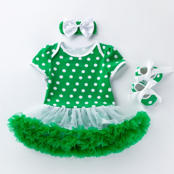 3-Piece Saint Patrick Day Bodysuit And Tutu Set For 19 - 22 inches Reborn Girls