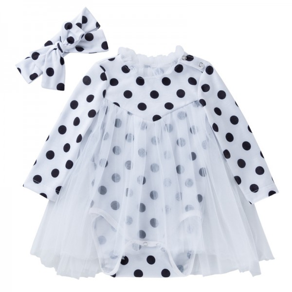 2-Piece Black Dots Bodysuit And Headband Set For 19 - 22 inches Reborn Girls