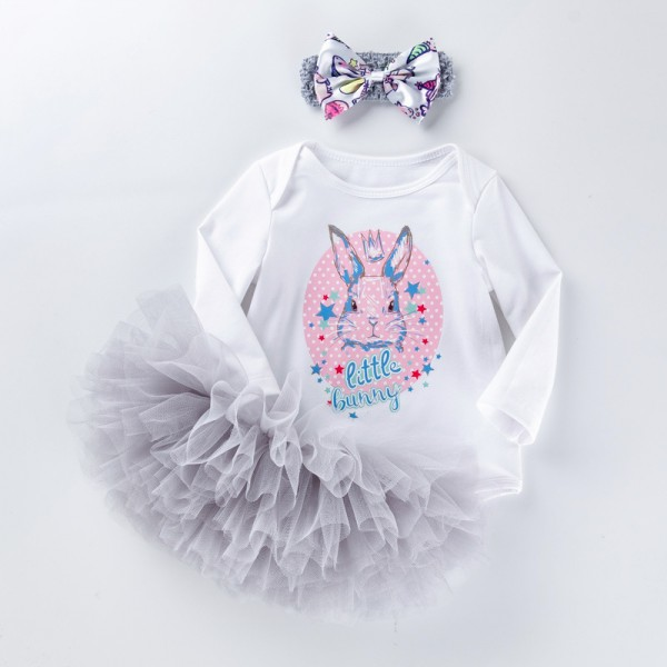 2-Piece Little Bunny Bodysuit And Tutu Set For 19 - 22 inches Reborn Girls