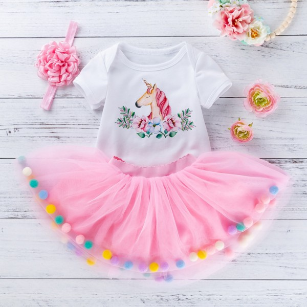 3-Piece Cute Bodysuit And Pink Tutu Set For 19 - 22 inches Reborn Girls