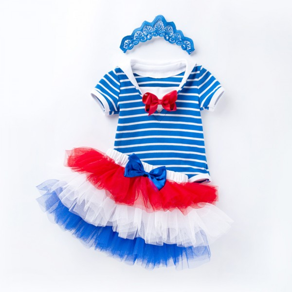 3-Piece Independence Bodysuit And Tutu Set For 19 - 22 inches Reborn Girls