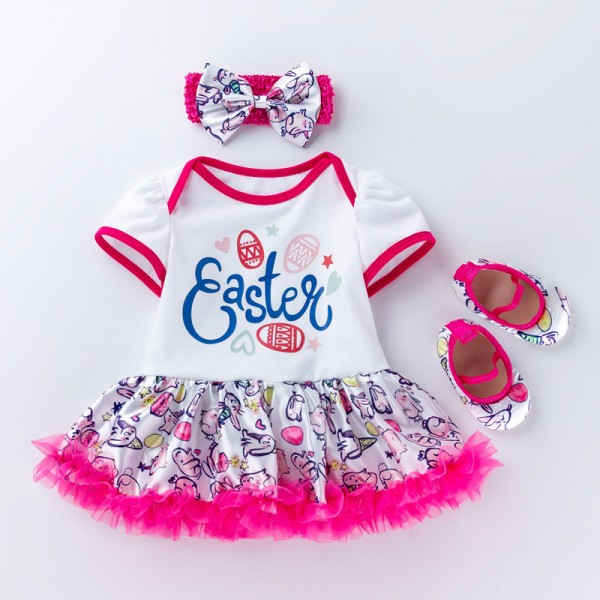 3-Piece Cute Easter Bodysuit And Headband Set For 19 - 22 inches Reborn Girls