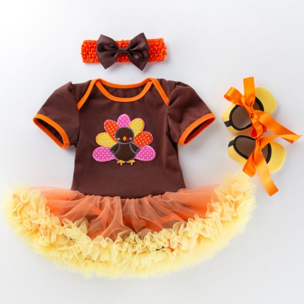 3-Piece Thanksgiving Bodysuit And Headband Set For 19 - 22 inches Reborn Girls