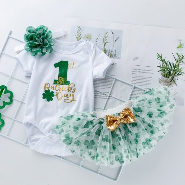 3-Piece Saint Patrick Day Bodysuit And Headband Set For 19 - 22 inches Reborn Girls