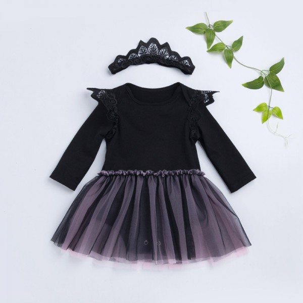 2-Piece Cute Black Bodysuit And Headband Set For 19 - 22 inches Reborn Girls