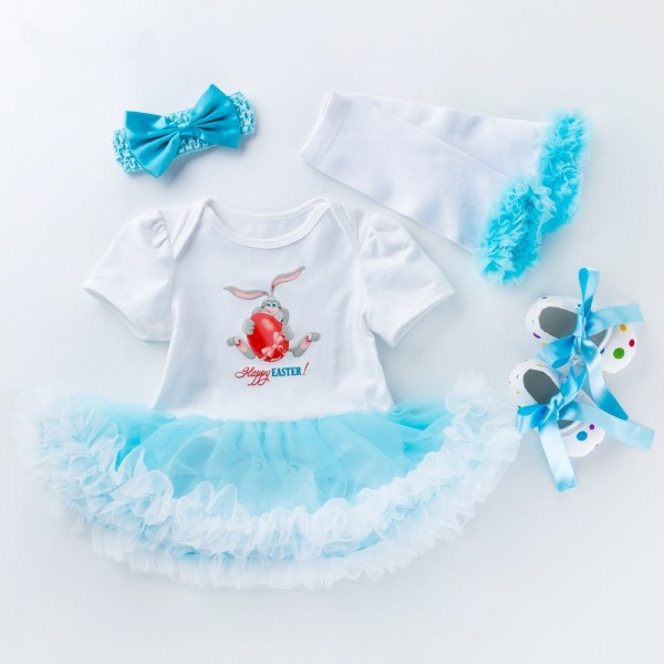 4-Piece Happy Easter Bodysuit And Shoes Set For 19 - 22 inches Reborn Girls