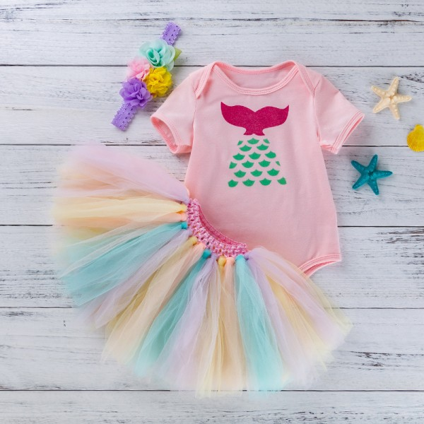 3-Piece Mermaid Bodysuit And Tutu Set For 19 - 22 inches Reborn Girls