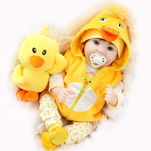 22 inches Original Reborn Baby Doll Lifelike Newborn Baby Duck Dress Set