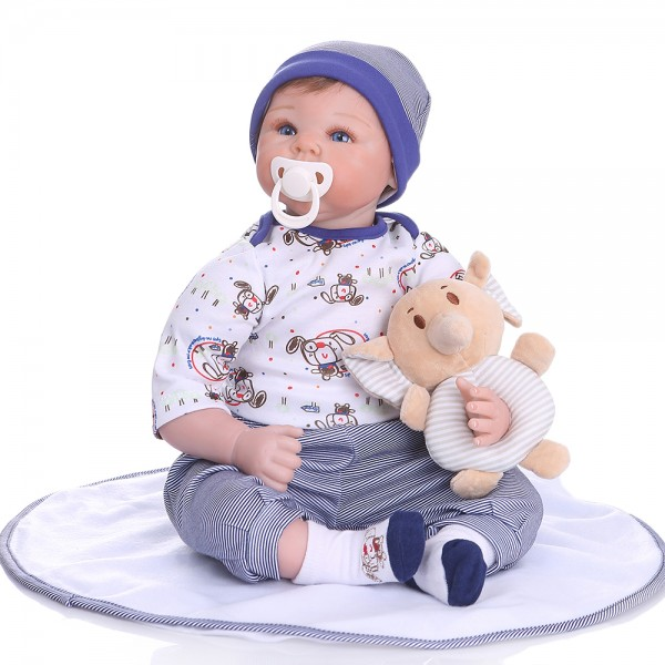 Realistic Reborn Baby Doll Lifelike Newborn Boy Doll 22inche