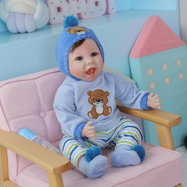 Reborn Baby Boy With Teeth Lifelike Handmade Newborn Doll 22Inche
