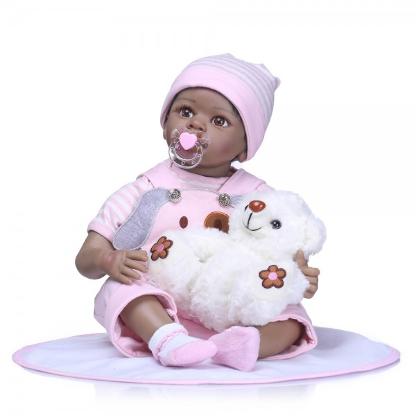 Refined Quality Reborn Soft Silicone Vinyl Black Baby Girl Doll 22Inche