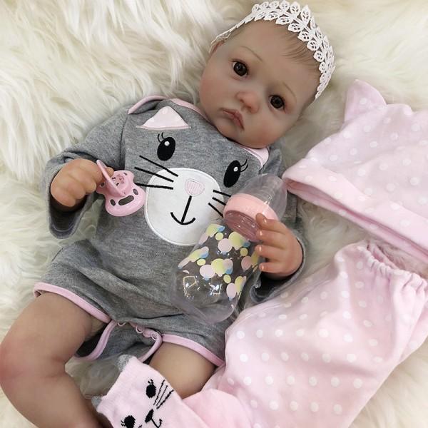 Reborn Baby Girl Eyes Open Lifelike Silicone Baby Doll 20inche