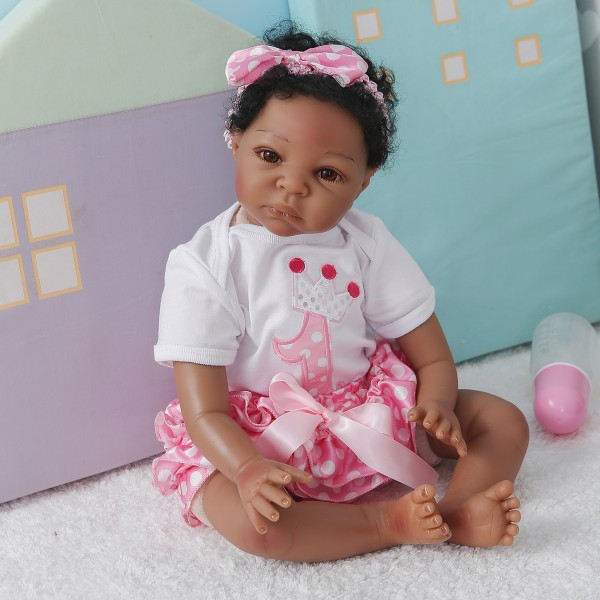 100% Handmade African American Girl Real Life Reborn Baby Dolls 22Inche