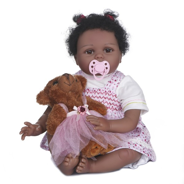 Lifelike Soft Body 100% Handmade African American Baby Reborn Girl Doll 22Inche
