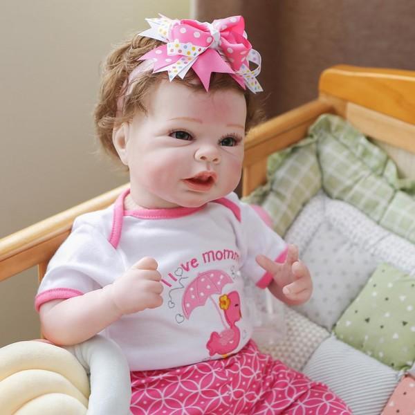 Poseable Reborn Baby Girl Handmade Realistic Newborn Baby Doll 22inche